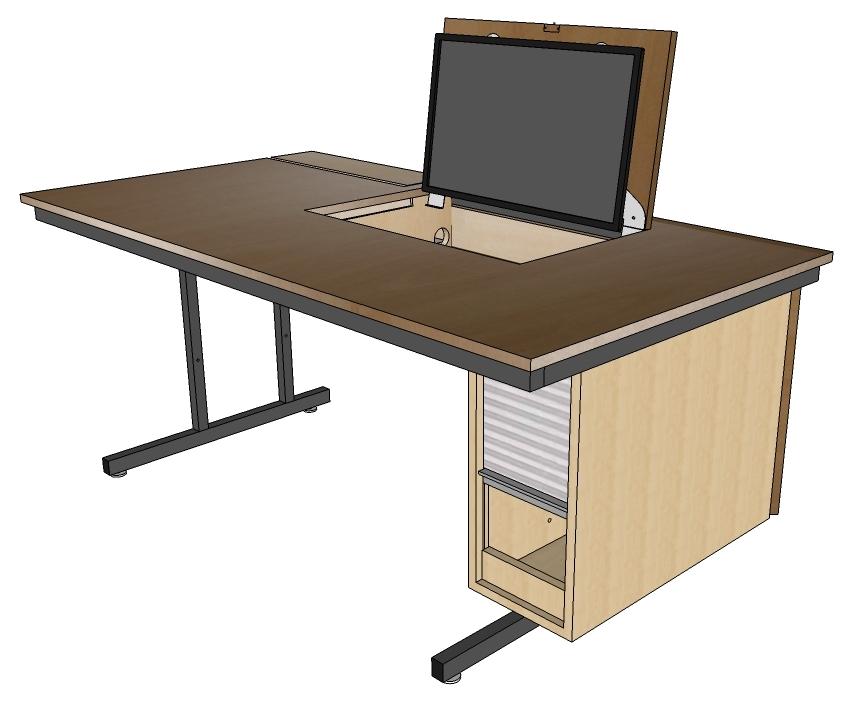 Der Lehrertisch ist eine Kombination von Schultisch mit verlängerter Tischplatte.