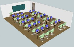 Klassenraum 25 Plätze + 1 Lehrerplatz