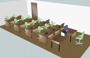 Klassenraum 11 Plätze + 1 Lehrerplatz